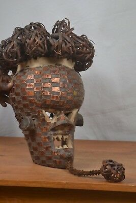 African Tribal Art,Vintage, Salampasu Warrior Mask,Copper Plated from,DRC.