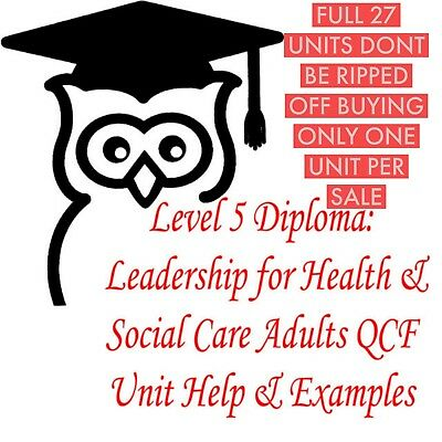 NVQ Level 5 Diploma Health and Social care answers help 27 units legitimate