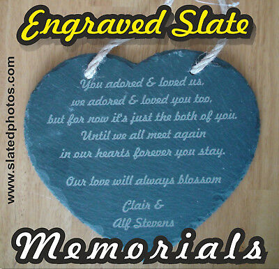 Personalised engraved SLATE heart for memorials and celebrations - custom text