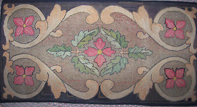 "Antique Handmade Flower Scroll  Hooked Rug 57"" X 29"""