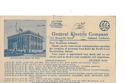 1924  Broadcast station KGO  general Electric Company QSL card