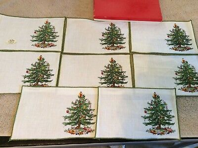 Vintage Spode Christmas tree 100% linen cocktail napkins by leacock USA in box