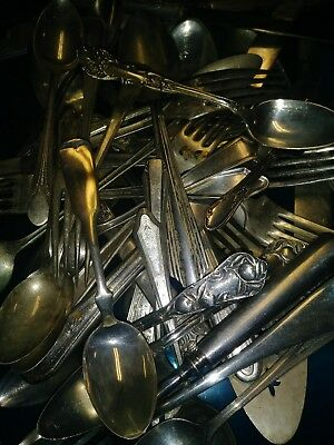 Junk Lot Of Vintage mixed match Silver Plate Flatware over 90 pieces+ serving p