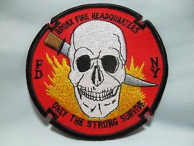 """BRONX FDNY Fire Headquarters Patch """"ONLY THE STRONG SURVIVE"""" Rare?"""