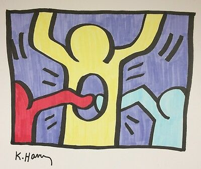 Original Keith Haring Hand-Drawn And Signed Ink * Pop Shop I * On Cardstock