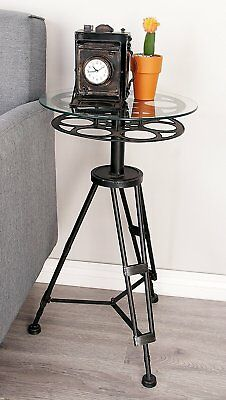 Glass Top End Tables Vintage Movie Reel Metal Accent Table Living Room  Furniture