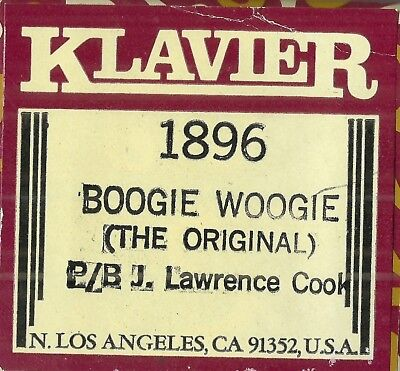 Boogie Woogie (The Original)  played by J Lawrence Cook, Klavier 1896 Piano Roll