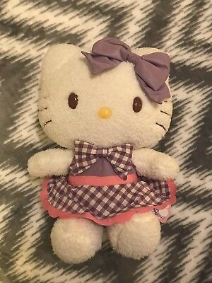 "Hello Kitty Rare Soft Purple Plaid Plush With Tags 12"" Inches"
