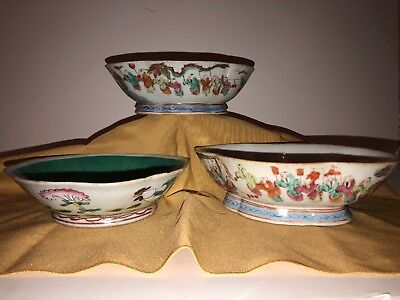 Three Piece Lot Of Old Chinese Porcelain Bowls