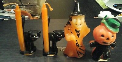 4 Vintage Halloween Gurley Candles witch pumpkin black cat Unused