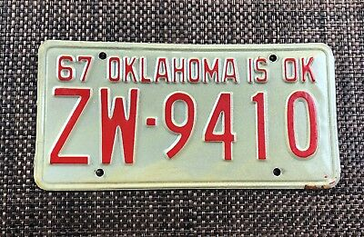 1967 Vintage Classic Oklahoma passenger license plate. ZW9410 Barn find.
