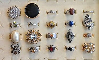 Estate lot of Rings Cocktail Sterling Silver .925 Gemstones NOS L@@K