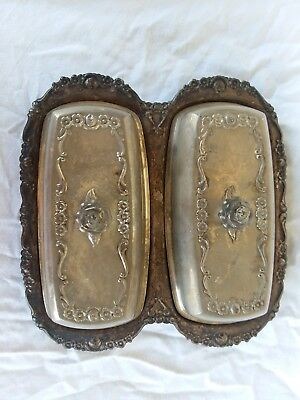 Silver Plated Double Butter Dish  Glass Inserts Fb Rogers Silver Company Antique