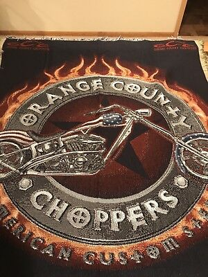 Orange County Choppers Blanket Throw Tapestry With Fringe New With Tags