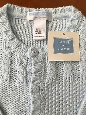 Janie and Jack NWT Blue Cable Knit Longall 3-6 Months