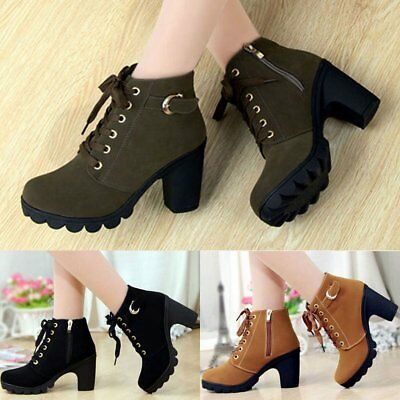 Fashion Women Faux Suede Ankle Boots High Block Heels Martin Combat Shoes Boots#