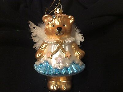 Glass Angel Bear with Wings Christmas Ornament 5""