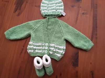 Hand knitted baby set, Cardigan,Beanie and Bootees NEWBORN (Mint/White )