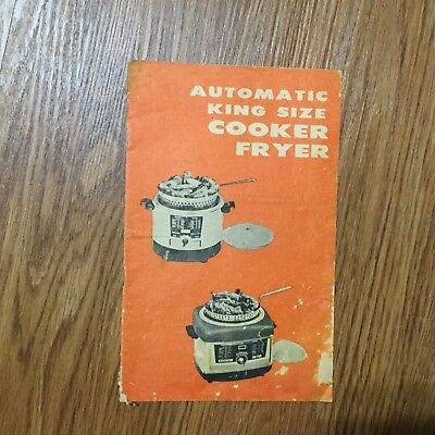 Vintage Automatic King Size Cooker Fryer Care Instructions & Recipes