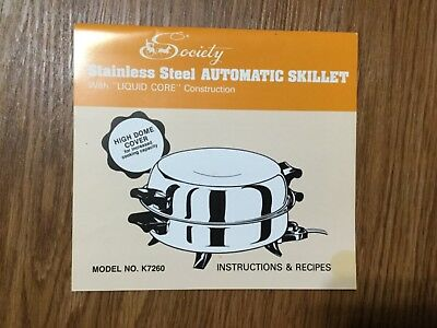 VTG Society STAINLESS STEEL AUTOMATIC ELECTRIC SKILLET RECIPES & INSTRUCTIONS