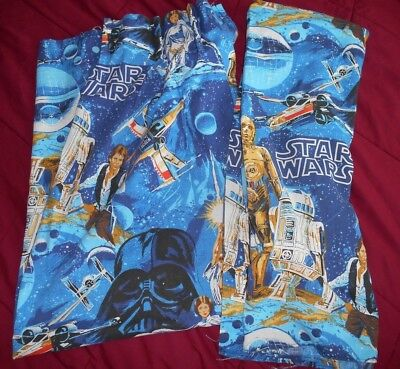 Vintage 1977 Pleated STAR WARS CURTAINS Set of Two ~ Nice Condition!