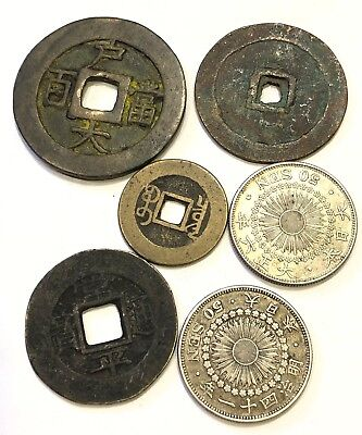 Lot of 6 Mixed China Ancient Bronze Coins