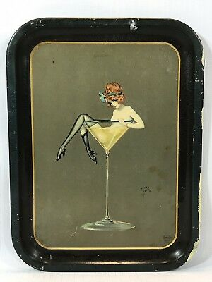 Henry Clive Vintage Pin Up Girl In Martini Glass Metal Tray - Publshed Beautebox
