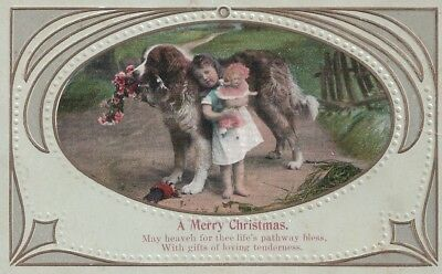Early Christmas Postcard with Little Girl with Doll and Dog, Used, c.1910s
