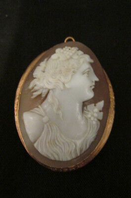 S38 antique victorian shell cameo gold filled setting pin pendant brooch