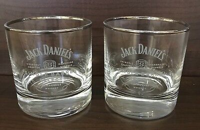 Jack Daniels Single Barrel Select Double Old Fashioned Silver Rim Glasses Set 2