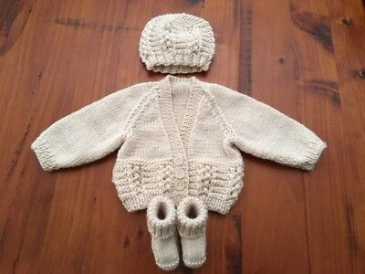 Hand knitted baby set, Cardigan,Beanie and Bootees NEWBORN (Beige )