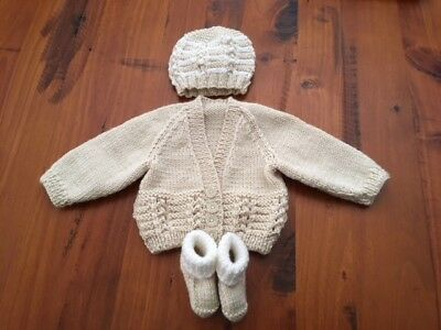 Hand knitted baby set, Cardigan,Beanie and Bootees NEWBORN (Beige/White )