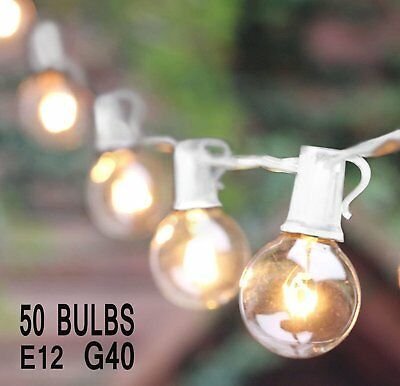 25Ft Outdoor Patio String Lights with 50 Clear Globe G40 Bulbs,UL Certified ZM