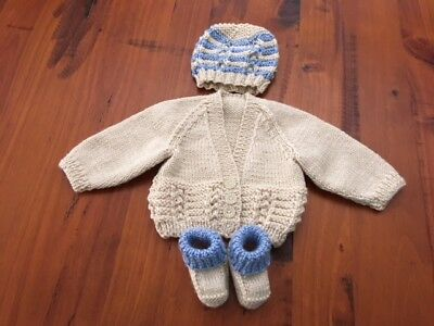 Hand knitted baby set, Cardigan,Beanie and Bootees NEWBORN (Beige/Blue )