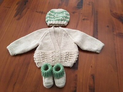 Hand knitted baby set, Cardigan,Beanie and Bootees NEWBORN (Beige/Mint )