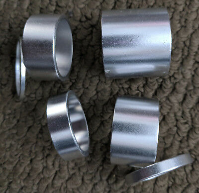 "Bmx - Set Of 6 Headset Spacers Spacer - 1 1/8"" - Anodized Silver - New"