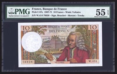 France 10 Francs 1968 P147c PMG About Uncirculated 55 EPQ