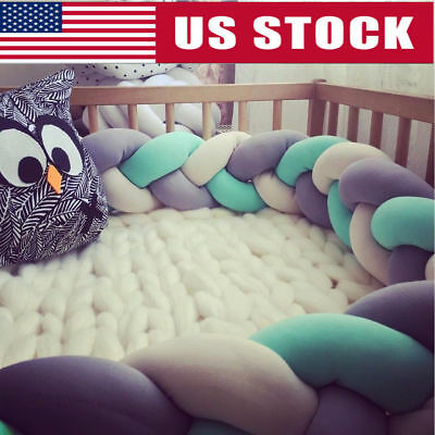 200cm Infant Baby Plush Bumper Bedding Crib Cot Braid Pillow Cushion Protector