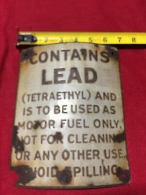"""Rare Porcelain Sign From Visible Gas Pump """"CONTAINS LEAD..."""""""