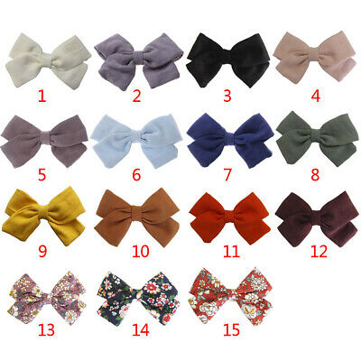 Baby Girl Cotton Linen Hair Bow Clip Floral Retro Barrette Alligator Solid Color