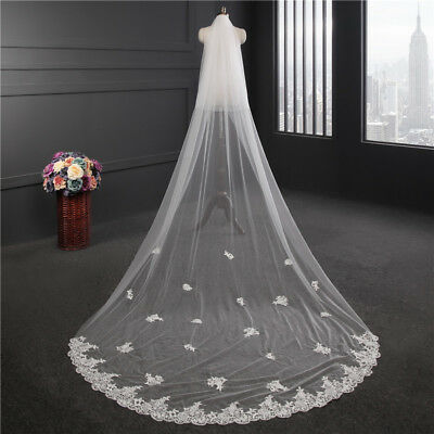 New 2T 3M Cathedral Long Lace Applique Wedding Bridal Veil with Comb White Ivory