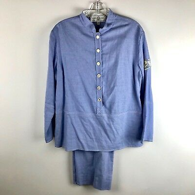 St. John Sport By Marie Gray 2 Piece Set Pantsuit Outfit Size Small Blue