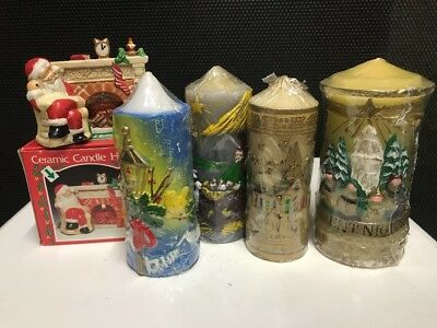Christmas Candle Lot New Never Used Holder Xmas Decorations Vintage