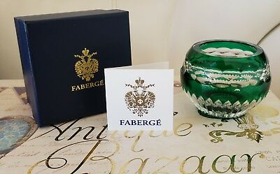 Stunning Green Cut Glass Crystal Faberge Candle Holder Dish Box Leaflet