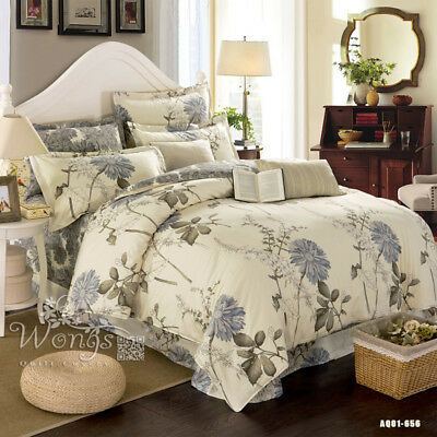 Cotton Ink style Doona/Quilt/Duvet Covers Set Floral Queen Size Bed Pillow Cases