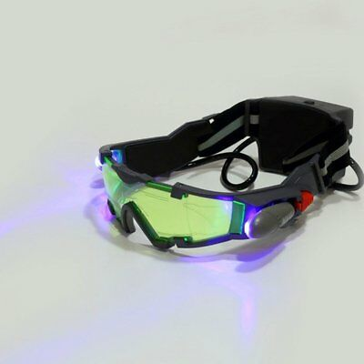 Adjustable LED Night Vision Glass Goggles Hunting Flip-out Light Windproof UM