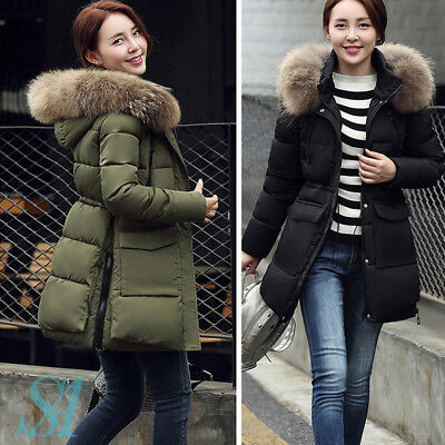 Ladies Fashion Faux Fur Hooded Quilted Jacket Parka Outerwear Long Coat Winter