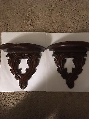 Vintage Wood Corbels Wall Shelves Mantel & Shelf Brackets Cup And Saucer