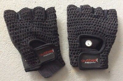 Outbak Lifting Gloves Leather/Mesh Large Bodybuilding Gym Fitness