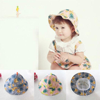 Cute Baby Girls Spring Summer Sun Cap Cotton Pineapple Printed Hat 6-24M
